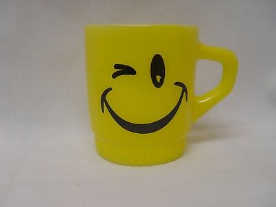 Fire-King Yellow Ribbed Bottom Smiley Winky Happy Wink Face Coffee Mug