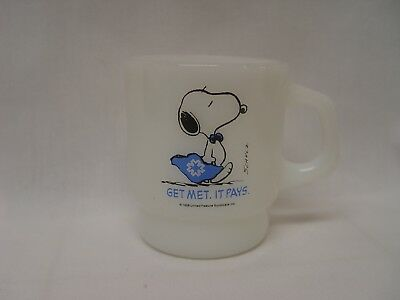 PEANUTS Snoopy Get Met It Pays Insurance Co. Fire-King Advertising Coffee Mug