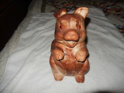 Mid Century Glass Eyes Rocky Mountain Pottery Pine Scent Begging Pig Bank 12 ""
