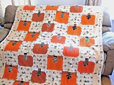Beautiful Pumpkin Patch Quilt, Finished and Warm Great Hostess Gift