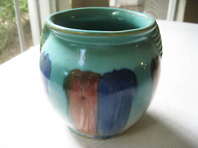 "1920's Hull Early Stoneware Vase Planter 5 1/2"" Tall Turquoise Pink Blue Striped"