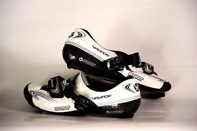New White and Black Bont Vaypor Cycling Shoes USA 8 EUR 42