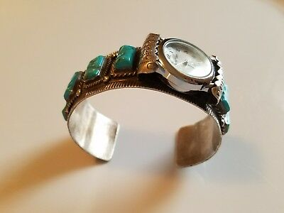 Vintage Navajo Sterling Turquoise Assymetrical Watch Band Cuff