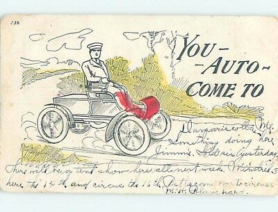 1905 postcard MAN DRIVES VERY EARLY AUTOMOBILE CAR WITH NO STEERING WHEEL ho4246
