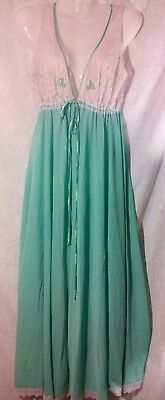 Vintage 50s/60s Mint Green & White Floral Lace Long Night Gown Sz L ~Retro Glam~