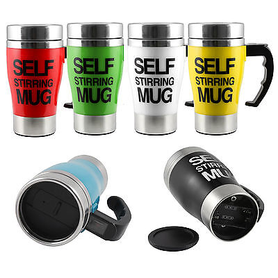 Stainless steel Mug Automatic stirringl with lid Handle button Keep warm U5M9