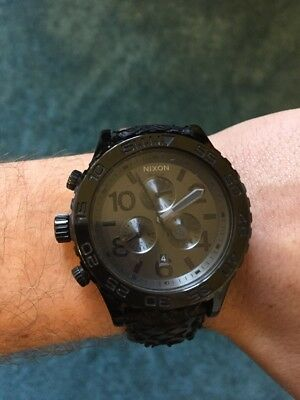 Nixon 42-20 Chrono In Black Snake Leather Watch A037848 A037 848