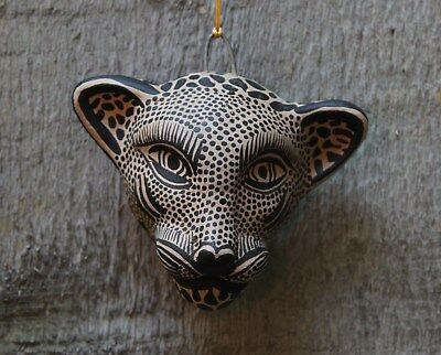 Small size Black & Tan Jaguar Wall Mask Clay Hand made Chiapas Mexican Folk Art