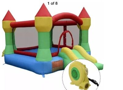 Inflatable Mighty Moonwalk Bouncer Bounce House Castle Jumper With 480W Blower