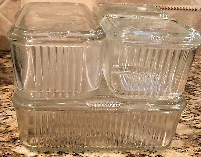 Vintage 4 piece  Glass Refrigerator  Container set by Federal Vegetables