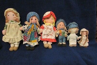 Vintage Group of Six Holly Hobbie Dolls - Cloth