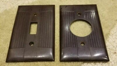 2 Vintage Eagle Sierra Brand Brown Bakelite Ribbed Outlet Switch Plate Covers