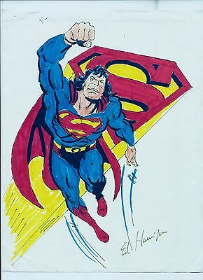 Autographed Ed Hannigan Superman Drawn and Inked Artwork  FREE SHIPPING !