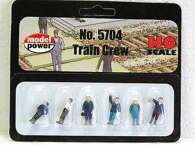 MODEL POWER #5704 HO Scale TRAIN CREW 6pc PAINTED New in pack