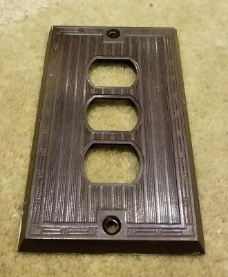1 Brown Vtg Bakelite Ribbed Deco Single Gang P&S Despard Line Plate Cover