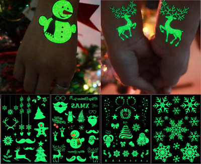 Christmas Luminous Skin stickers Party Kids Temporary Tattoos Décor Decal