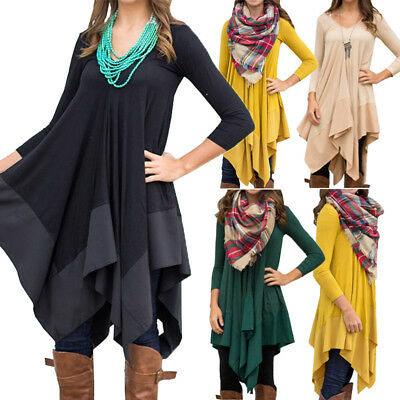 US Women Casual Long Sleeve V Neck Tunic Blouses Ladies Long Loose Party Dress