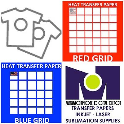 InkJet T Shirt HEAT TRANSFER PAPER Combo 10 Sh Each  Dark & Red Grid 8.5x11""