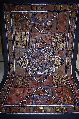 Antique INDIAN PATCHWORK TAPESTRY WALL HANGING KATCHI Mirror009