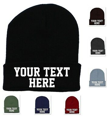 Personalized Custom Print Your Own Text On A Beanie Cap Hat Customized