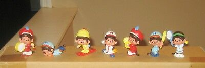 Vintage 1981 Monchhichi Lot of 7 PVC Figures Mint Old Store Stock