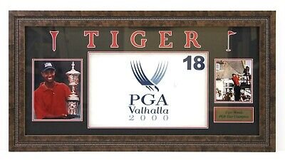 Tiger Woods Signed and Framed 2000 PGA Valhalla Flag with Photos