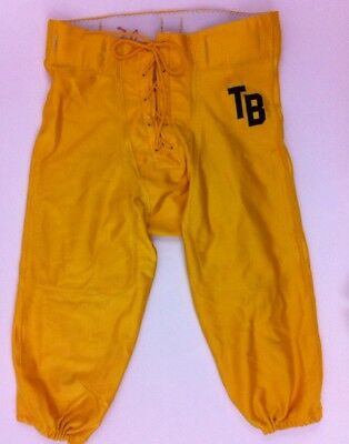 Vintage FAB KNIT Men's Yellow Gold Nylon Football Pants Jersey Large Made in USA
