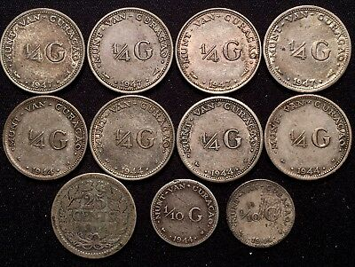 Curacao 1/4 Gulden 1/10 Gulden 1947 1944 & 1914 Netherlands 25 Cents - MIXED LOT
