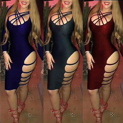Sexy-Womens-Long Sleeve-Bandage-Bodycon-Evening-Party-Cocktail-Club-Dress UK