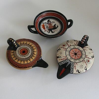 GREEK   Two oil lamp s and a small bowl  (MUSEUM COPY)
