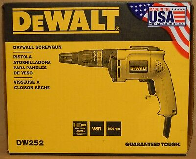 Brand New DEWALT DW252 6Amp Lightweight Drywall Screwgun Screwdriver