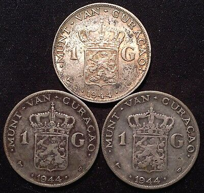 1944-D Curacao 1 Gulden SILVER Coins  SCARCE - LOT of 3