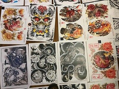 70 plus A3 Tattoo flash designs copys studio shop mixed look at other lots to