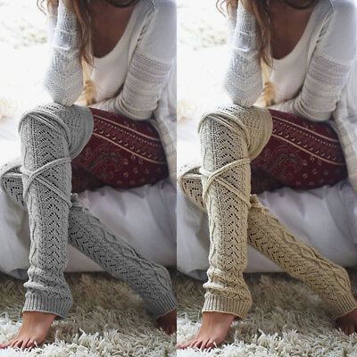 US Women Winter Crochet Knitted Stocking Leg Warmers Boot Thigh High Socks Fancy