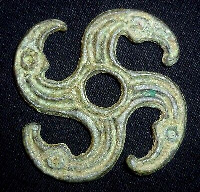 VIKING Ancient Artifact Bronze AMULET - ZOOMORPHIC APPLIQUE Circa 700-900 AD