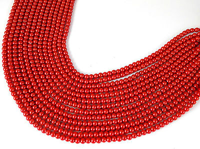 5 Strands Brick Red Glass Pearl Rondelle 4-4.5mm Smooth Gemstone Jewelry Beads