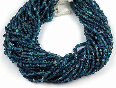 "5 Strands Neon Apatite Coin Shape 3.5-4mm 13"" Long Smooth Gemstone Jewelry Beads"
