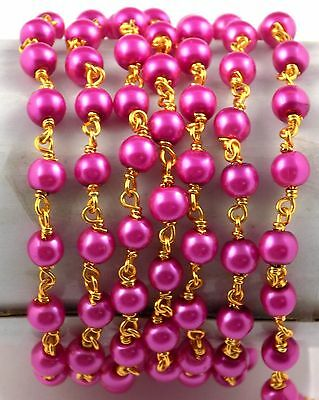 10 Feet Pink Glass Pearl Rosary Style Chain 4mm Smooth Bead Linking Beads