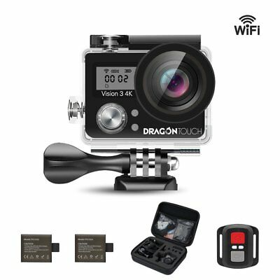 Dragon Touch Vision 3 WiFi 4K Sports Action Camera Waterproof 16MP DV Travel Bag