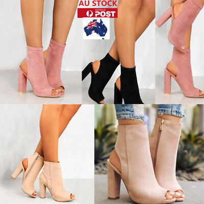 AU Women Block High Heels Peep Toe Ankle Boots High Top Zip Sandals Pumps Shoes