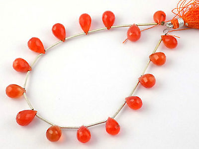 "1 Strand Natural Carnelian Faceted Drops Briolette Beads 7x10-8x12mm 8"" Long"