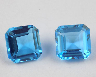 2 Pieces Blue Topaz Square 8x8mm 5.25Cts Faceted Handmade Jewelry Loose Gemstone