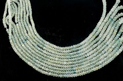 """1 Strand Fine Aquamarine Gemstone Micro Faceted Rondelle Beads 3-5mm 16.5"""" Long"""