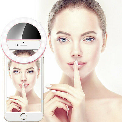 Fashion Selfie Portable LED Fill Light Ring Camera Photography Fit iPhone Mobile