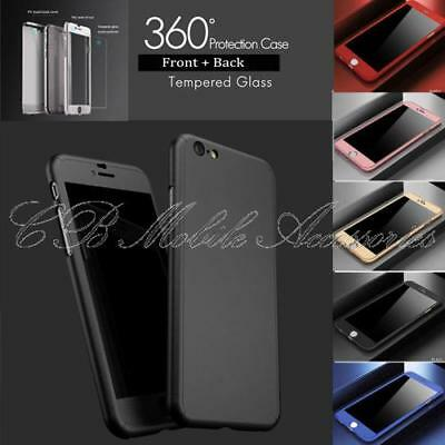 360° Complete Protection Matte Hard Case for iPhone 8 Cover Glass Screen Protect