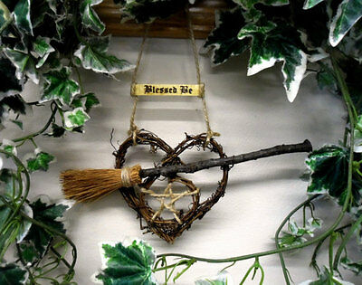 Samhain Sale! Was £7.95 Now £6.95!  Handmade Pagan Oak Besom & Pentacle Heart.