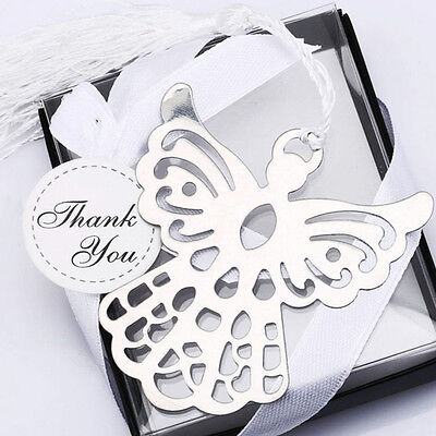 Stainless Steel Silver Guardian ANGEL Bookmark Tassel Page Marker Ribbon Box 0G