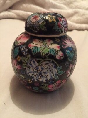Ginger Jar Black Floral Chinese Enamel Hand painted