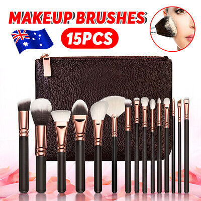 AU 15PCS Pro Cosmetic Powder Eyeshadow Complete Face Makeup Brush Bag Set