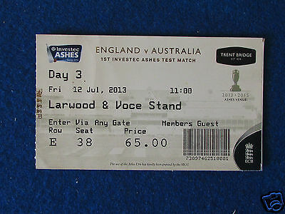 England v Australia Ashes Test Match Ticket - 12/7/13 - Trent Bridge